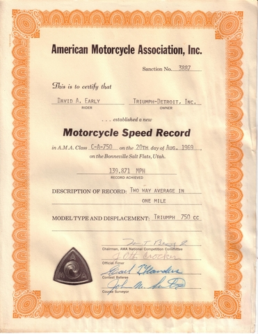 David Early A.M.A. Bonneville Motorcycle Speed Record
