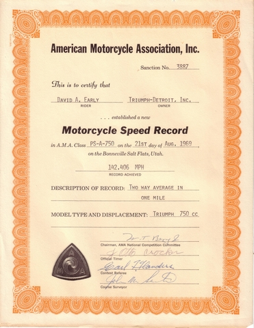 David Early Bonneville  Motorcycle Speed Record